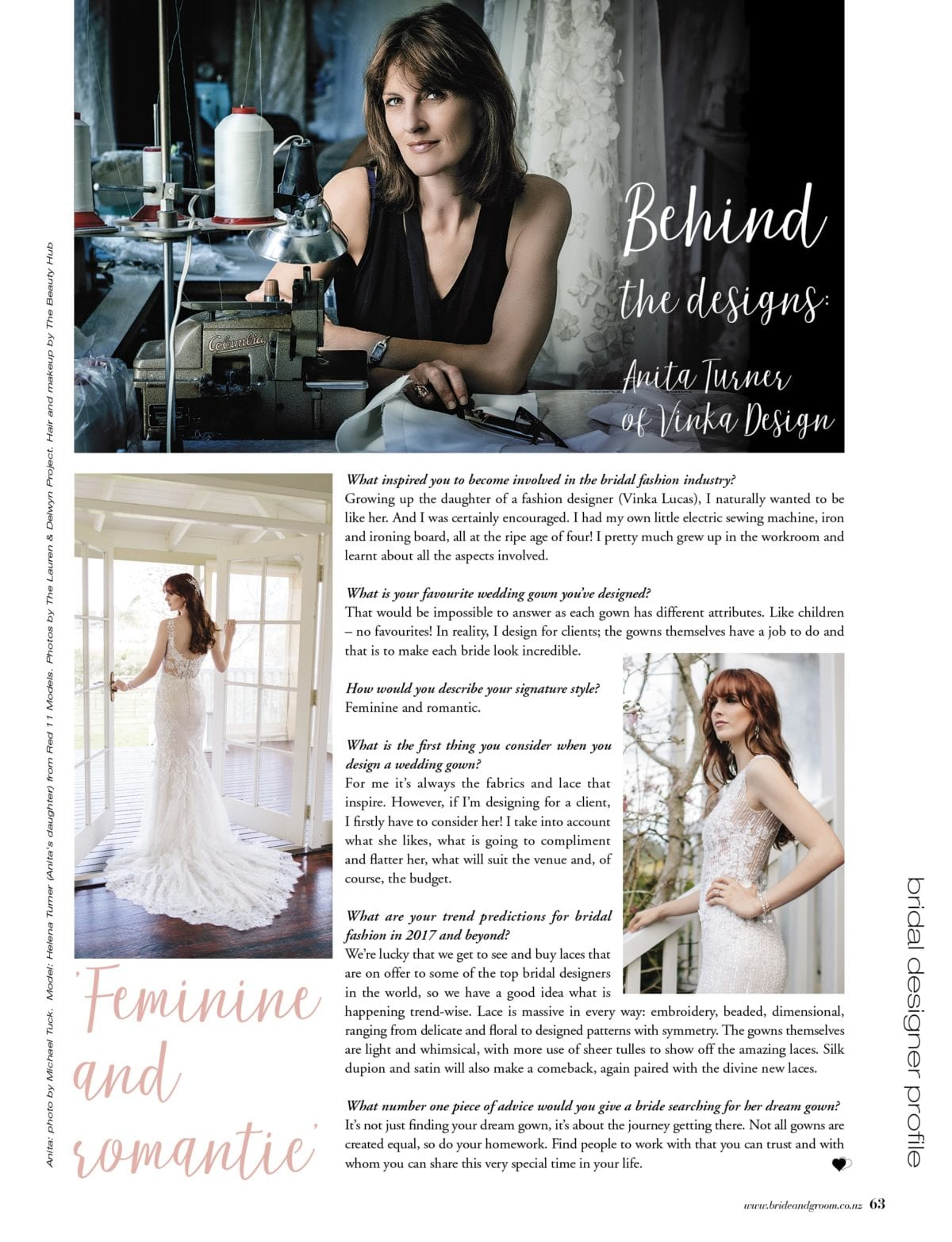 Behind the Designs feature in Bride and Groom magazine on Anita Turner of Vinka Design