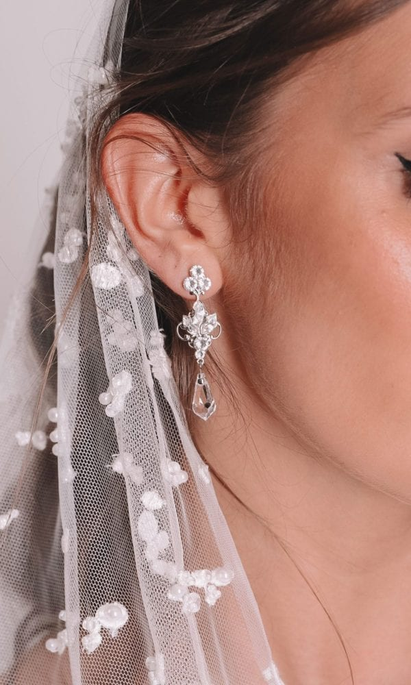 Vinka Design Bridal Accessories - Bridal earrings - Alessia - available from Vinka Design Auckland bridal store. Crystal drop earrings worn with veil