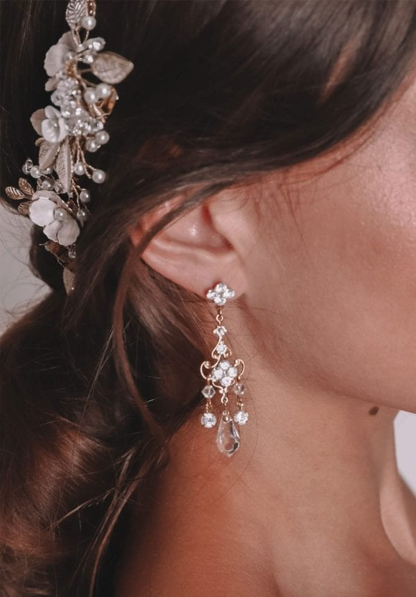 Vinka Design Bridal Accessories - Bridal earrings - Beyonce - available from Vinka Design Auckland bridal store. Chandelier, crystal drop