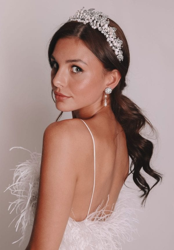 Vinka Design Bridal Accessories - Bridal earrings - Brazil - available from Vinka Design Auckland bridal store. Pearl, large zirconia cluster, worn with pearl and zirconia tiara headpiece