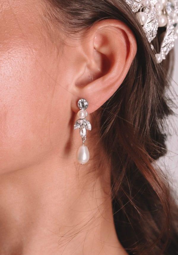 Vinka Design Bridal Accessories - Tiara - Bridal earrings - Bri - available from Vinka Design Auckland bridal store. Pearl drop