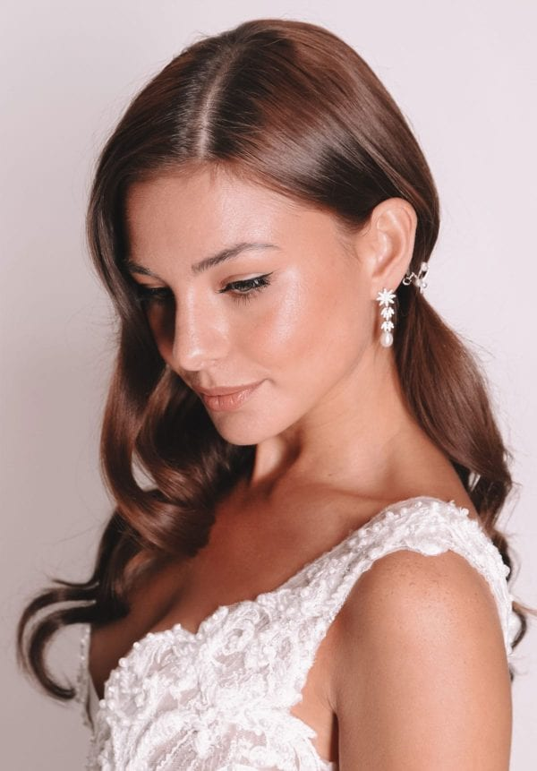 Vinka Design Bridal Accessories - Bridal earrings - Christine - available from Vinka Design Auckland bridal store. Pearl, star zircon, drop
