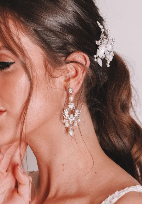 Vinka Design Bridal Accessories - Bridal earrings - Codie - available from Vinka Design Auckland bridal store. Chandelier, pearl, zirconia, worn with headpiece