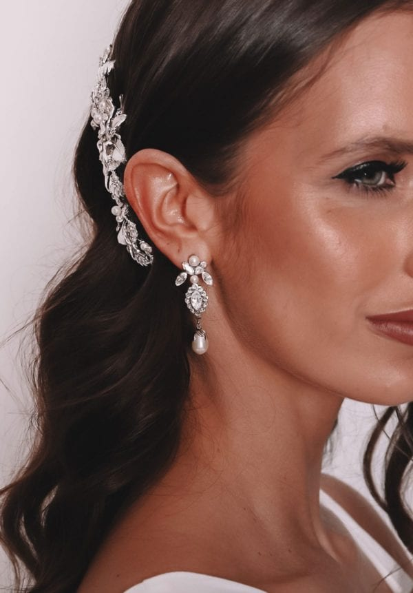 Vinka Design Bridal Accessories - Bridal earrings - Cynthia - available from Vinka Design Auckland bridal store. ZIrconia, pearl, drop