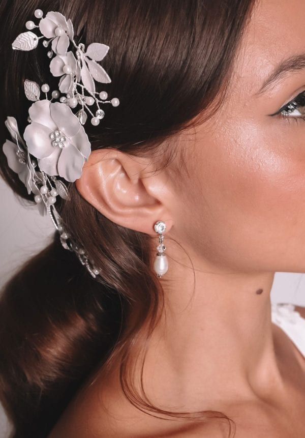 Vinka Design Bridal Accessories - Bridal Earrings - Emerald - available from Vinka Design Auckland bridal store. Worn wth floral headpiece