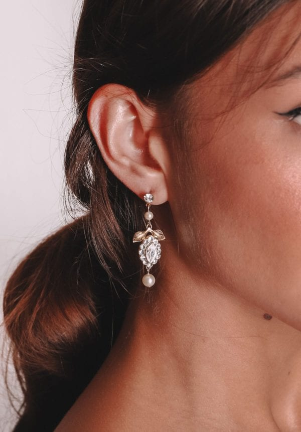 Vinka Design Bridal Accessories - Bridal Earrings - Jessica - available from Vinka Design Auckland bridal store. Pearl, zirconia drop