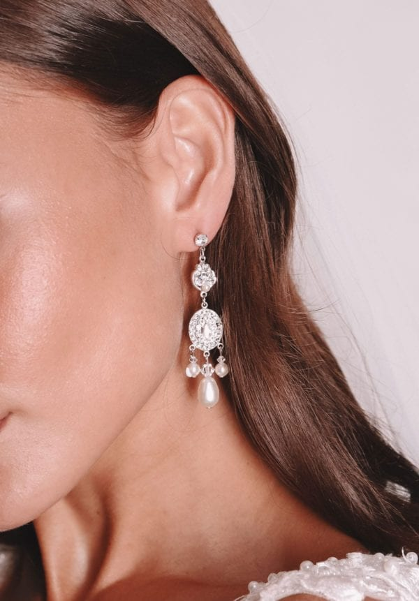 Vinka Design Bridal Accessories - Bridal Earrings - Josette - available from Vinka Design Auckland bridal store. Pearl, zirconia cluster, drop
