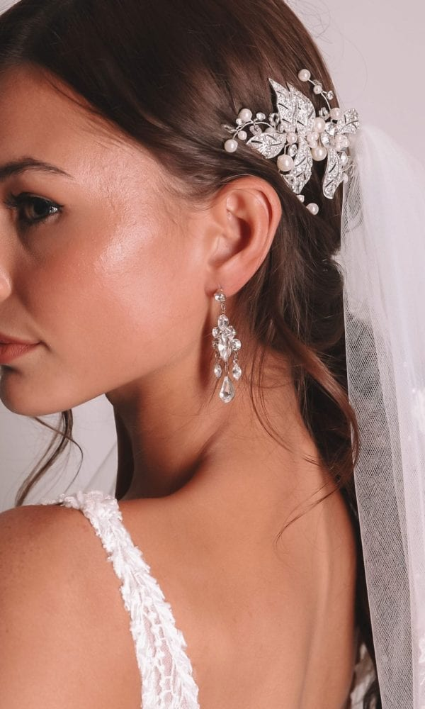 Vinka Design Bridal Accessories - Bridal Earrings - Kayla - available from Vinka Design Auckland bridal store. Pearl, crystal drop
