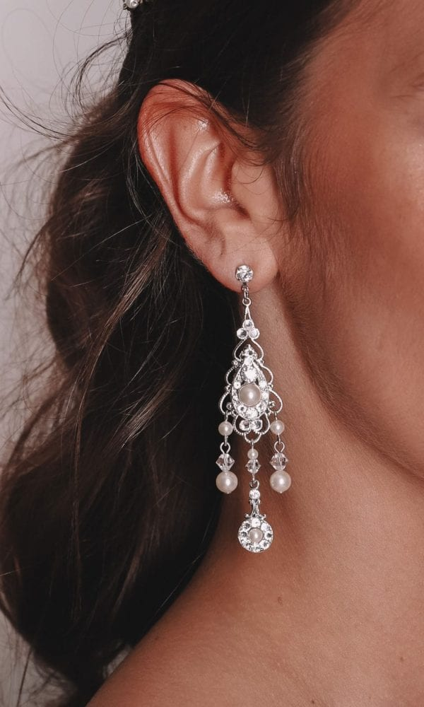 Vinka Design Bridal Accessories - Bridal Earrings - Maryanne - available from Vinka Design Auckland bridal store. Pearl, zirconia drop chandelier