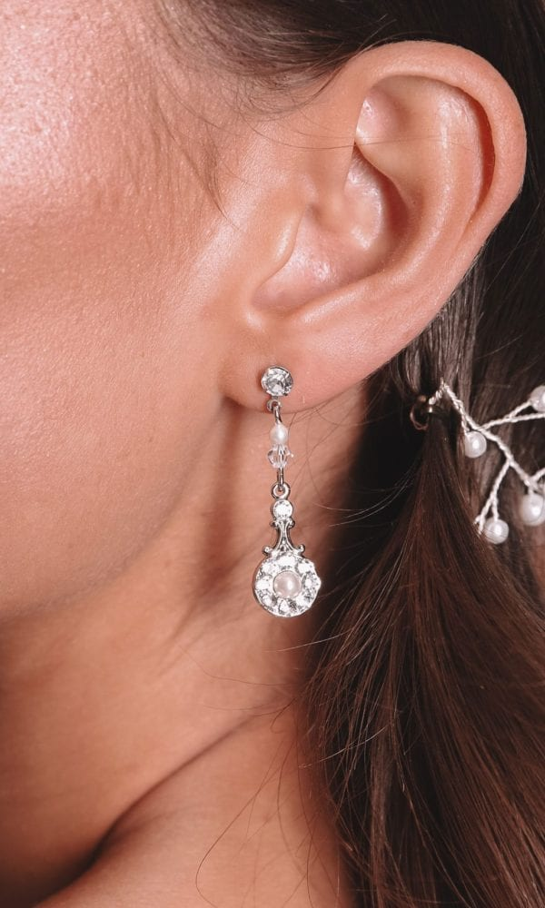 Vinka Design Bridal Accessories - Bridal Earrings - Maryanne small - available from Vinka Design Auckland bridal store. Simple , pearl, zirconia drop chandelier