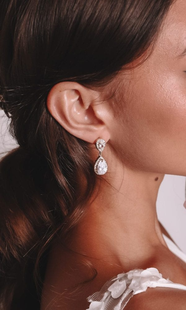 Vinka Design Bridal Accessories - Bridal Earrings - Pamela - available from Vinka Design Auckland bridal store. Simple large drop earrings