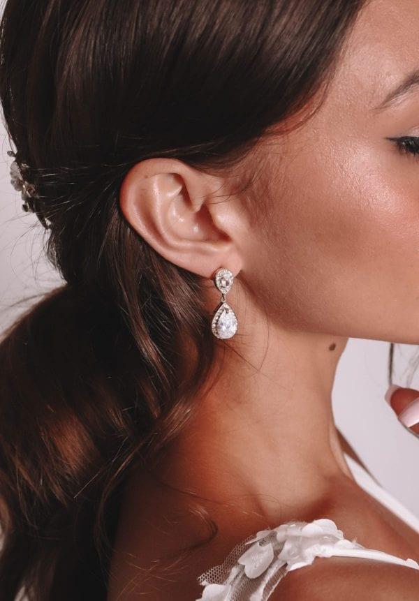 Vinka Design Bridal Accessories - Bridal Earrings - Pamela - available from Vinka Design Auckland bridal store. Simple large drop earrings