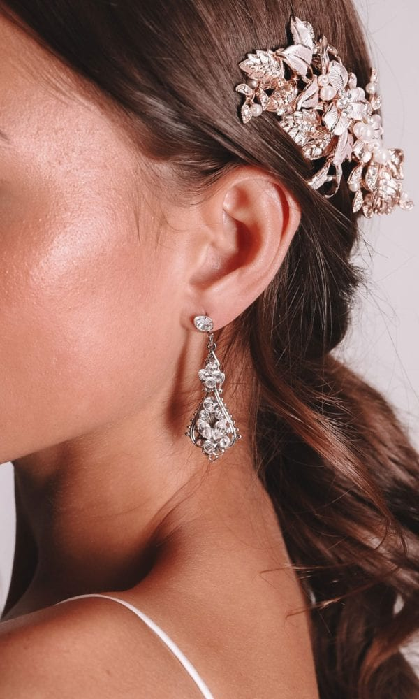 Vinka Design Bridal Accessories - Bridal Earrings - Raine - available from Vinka Design Auckland bridal store. Zirconia drop earrings worn with headpiece