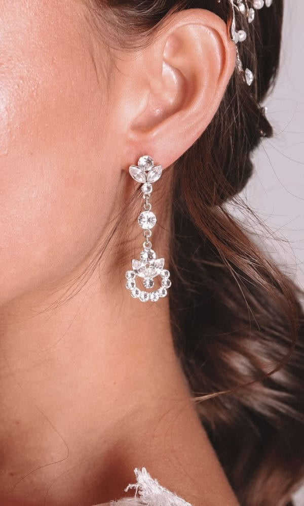 Vinka Design Bridal Accessories - Bridal Earrings - Rosa - available from Vinka Design Auckland bridal store. Zirconia drop earrings delicate
