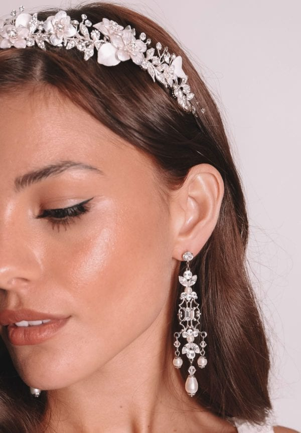 Vinka Design Bridal Accessories - Bridal Earrings - Rosa - available from Vinka Design Auckland bridal store. Pearl and zircon chandelier drop earrings worn with delicate headpiece headband