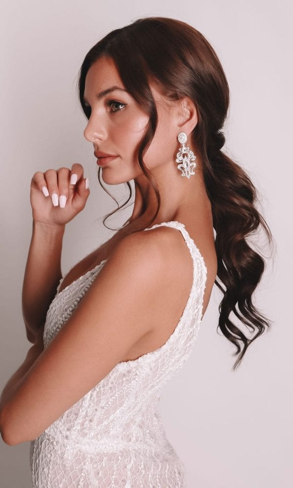 Vinka Design Bridal Accessories - Bridal Earrings - Sia - available from Vinka Design Auckland bridal store. stunning large chandelier earrings