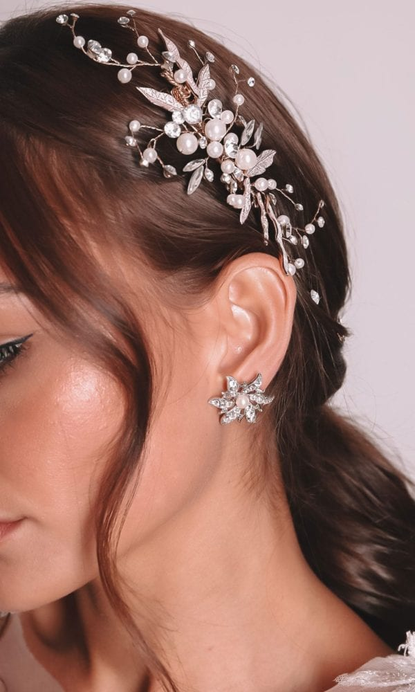 Vinka Design Bridal Accessories - Bridal Earrings - Telesto - available from Vinka Design Auckland bridal store. Large flower studs