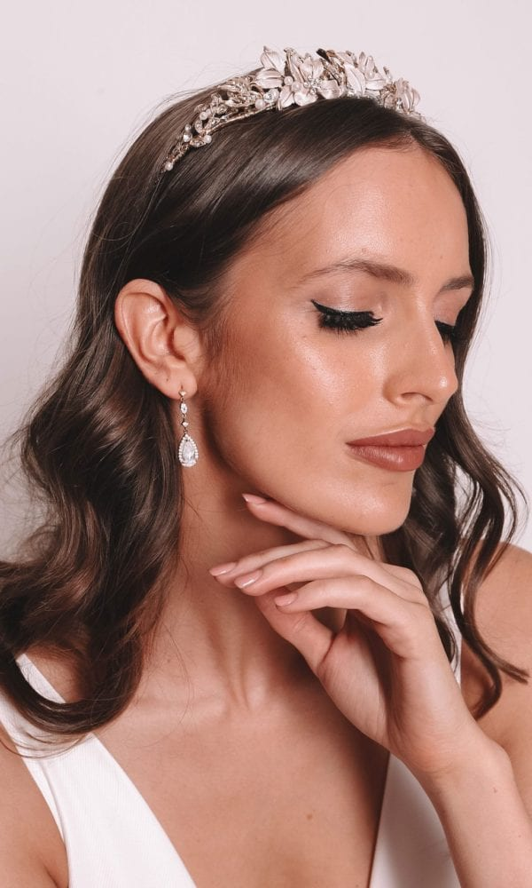 Vinka Design Bridal Accessories - Bridal Earrings - Victoria - available from Vinka Design Auckland bridal store. simpledrop crystal zirconia earrings worn with headpiece tiara