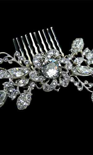 Asher Jewelled Silver Hair Comb Headpiece from Vinka Design Wedding Accessories