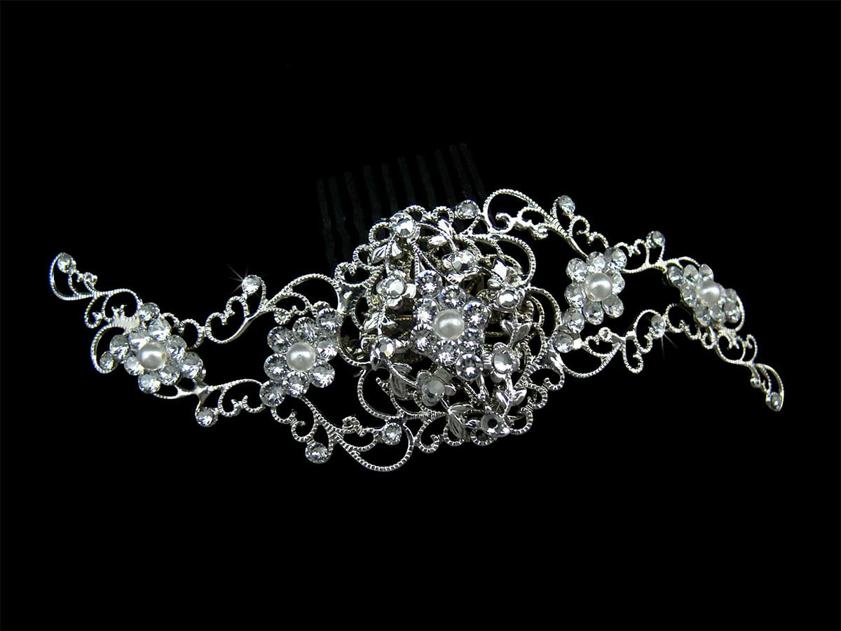 Courtney Bright SIlver Hair Comb Headpiece from Vinka Design Wedding Accessories