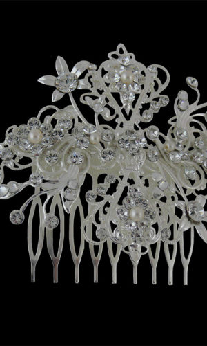 Marley Floral Diamante Hair Comb Headpiece from Vinka Design Wedding Accessories