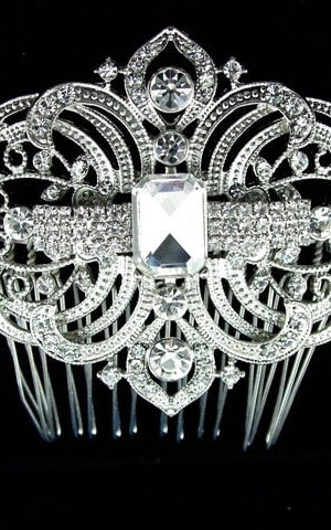 Windsor Bridal Silver & Diamante Hair Comb Headpiece from Vinka Design Wedding Accessories
