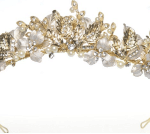 Windsor Bridal Crown Gold & Pearl Headpiece from Vinka Design Wedding Accessories