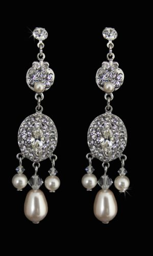 Josette Jewel and pearl Drop Earrings from Vinka Design Bridal Accessories