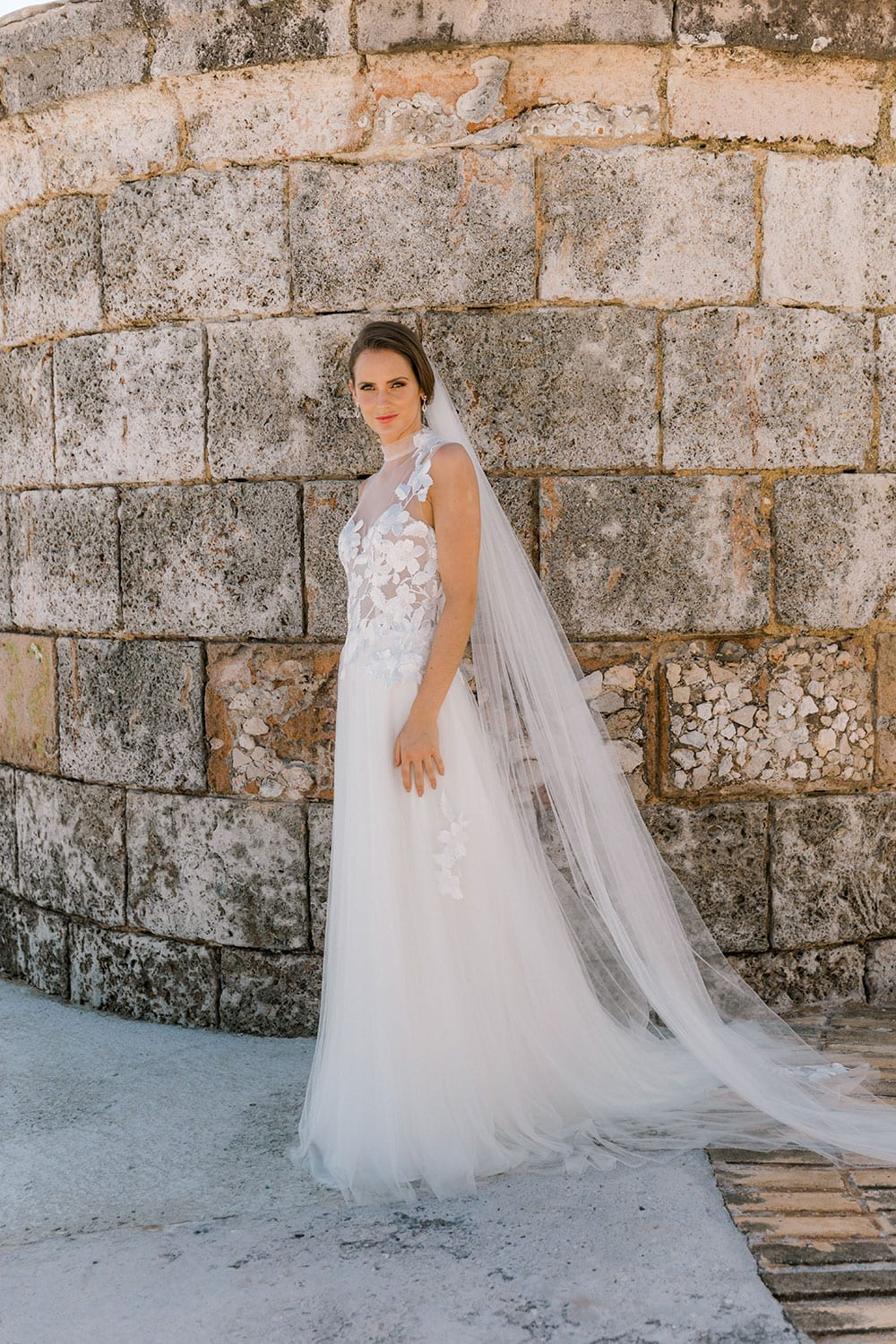 Model wearing Vinka Design Julia Wedding Dress, a High Neck Tulle Wedding Gown against a wall in Havana