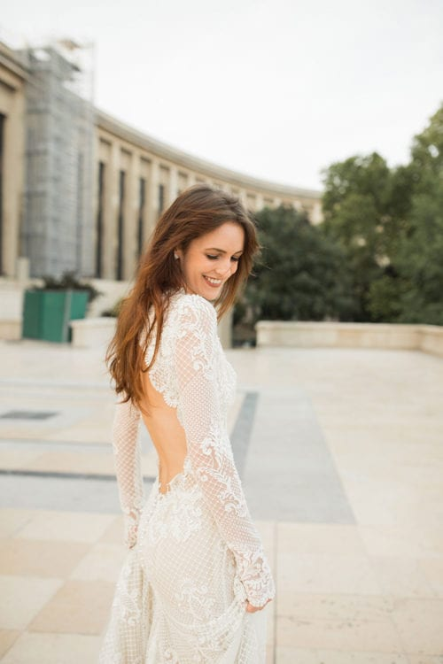Backless Long Sleeve Lace Gown