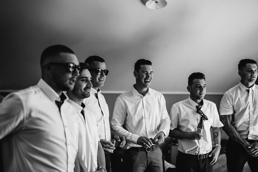 Real Weddings | Vinka Design | Real Brides Wearing Vinka Gowns | Briar and Corey - groomsmen laughing