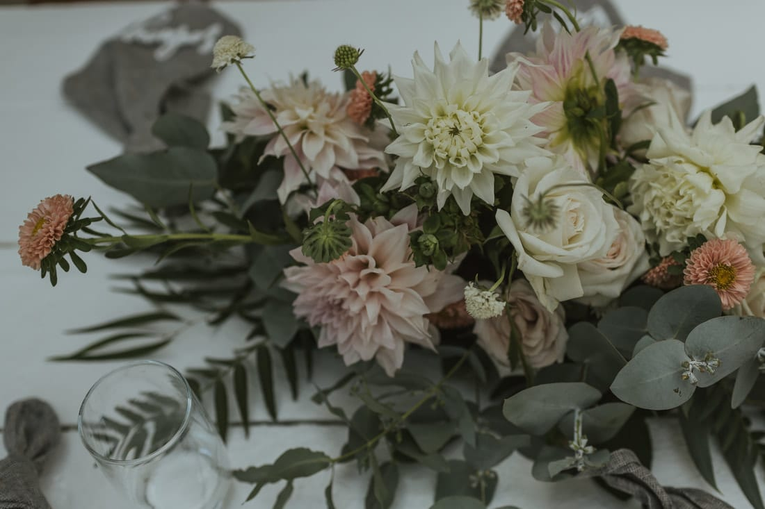 Real Weddings | Vinka Design | Real Brides Wearing Vinka Gowns | Briar and Corey flowers close up