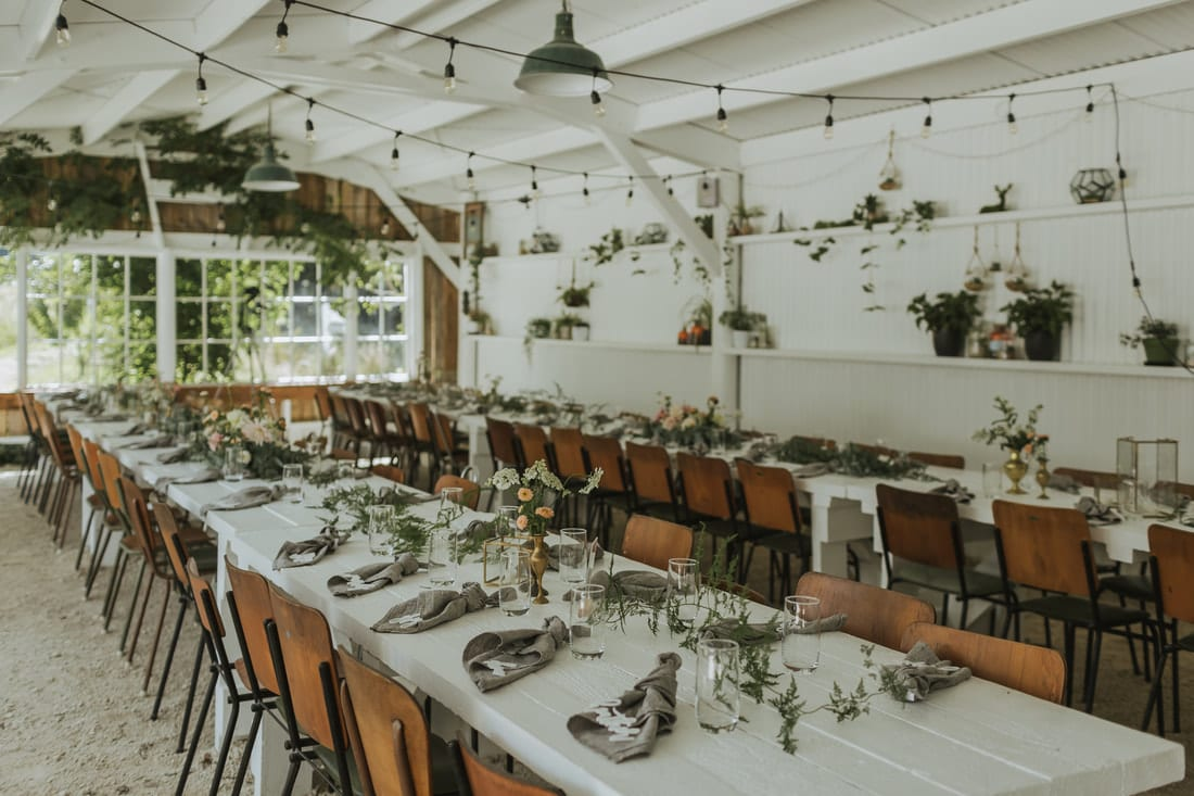 Real Weddings | Vinka Design | Real Brides Wearing Vinka Gowns | Briar and Corey reception venue table set up
