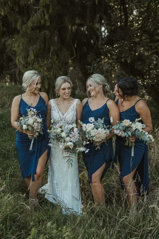 Real Weddings | Vinka Design | Real Brides Wearing Vinka Gowns | Briar and Corey - bride and bridesmaids in field