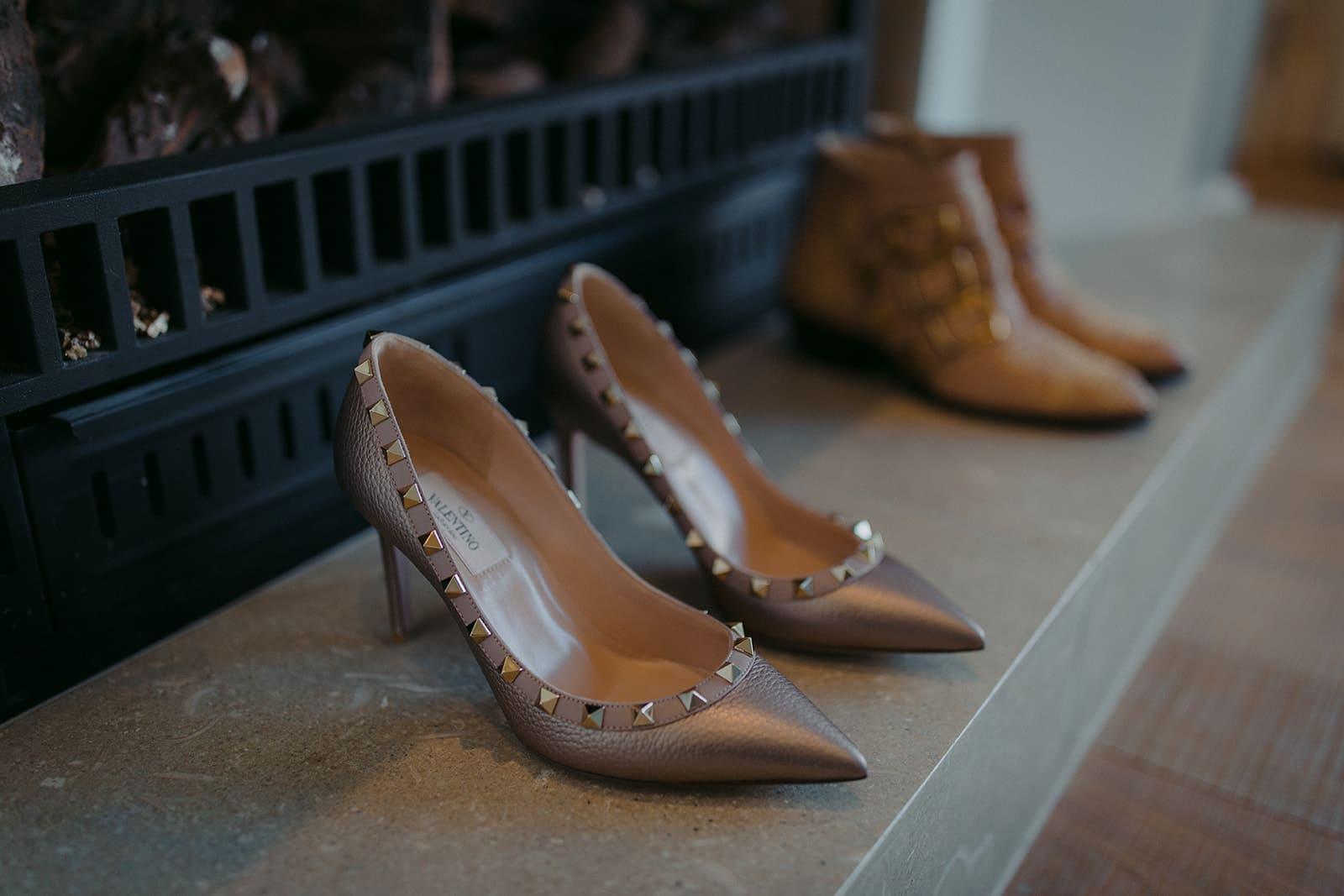 Real Weddings | Vinka Design | Real Brides Wearing Vinka Gowns | Sara and Ben - wedding shoes close up