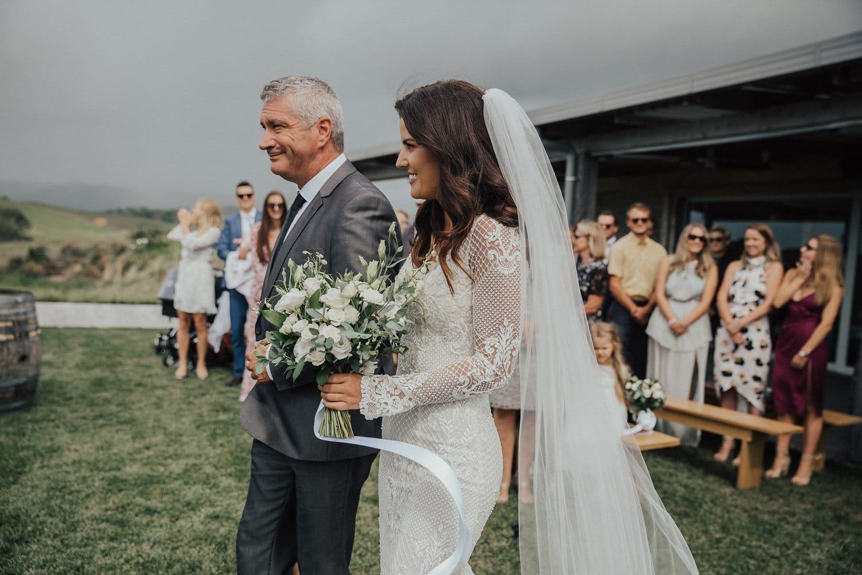 Real Weddings | Vinka Design | Real Brides Wearing Vinka Gowns | Nicole and Hayden - Nicole walking down aisle