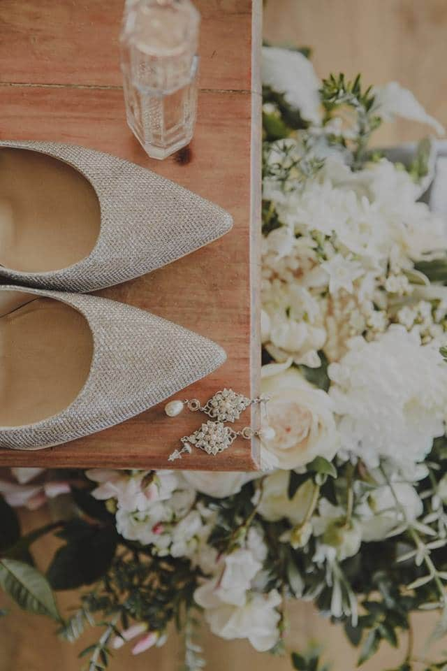 Real Weddings | Vinka Design | Real Brides Wearing Vinka Gowns | Haley and Mike -flowers and brides shoes