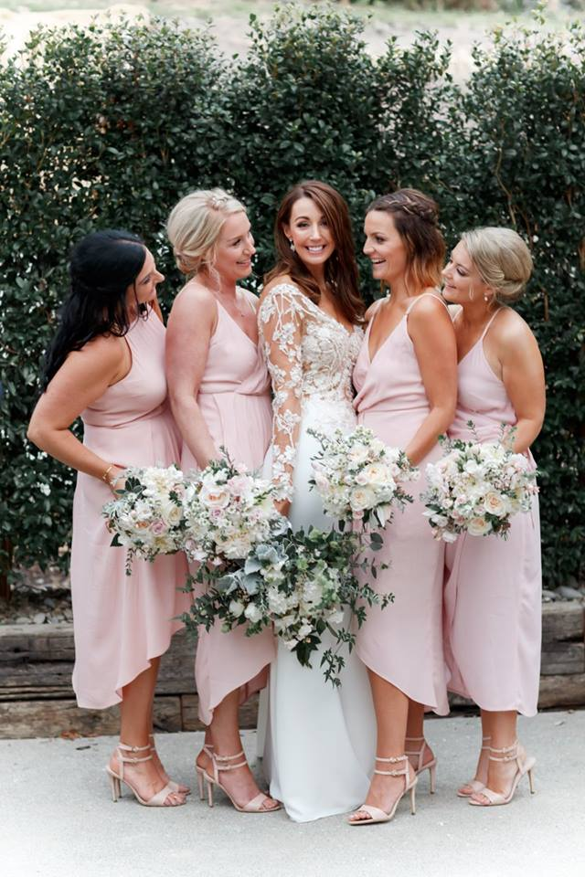 Real Weddings | Vinka Design | Real Brides Wearing Vinka Gowns | Haley and Mike -Haley and bridesmaids