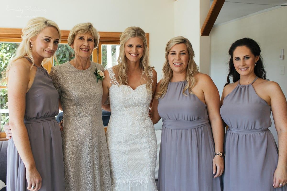 Real Weddings | Vinka Design | Real Brides Wearing Vinka Gowns | Kate and Graeme - Kate with bridesmaids in light room