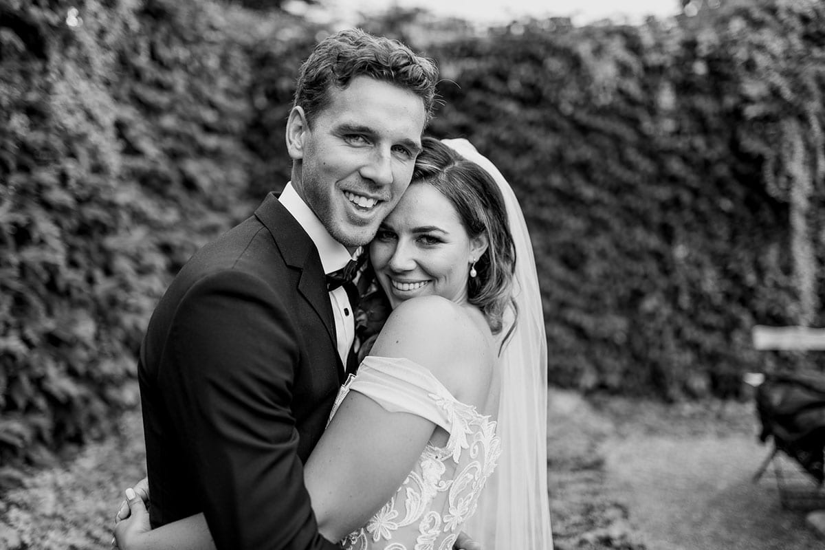 Real Weddings   Vinka Design   Real Brides Wearing Vinka Gowns   Amber and Rhys close up black and white portrait