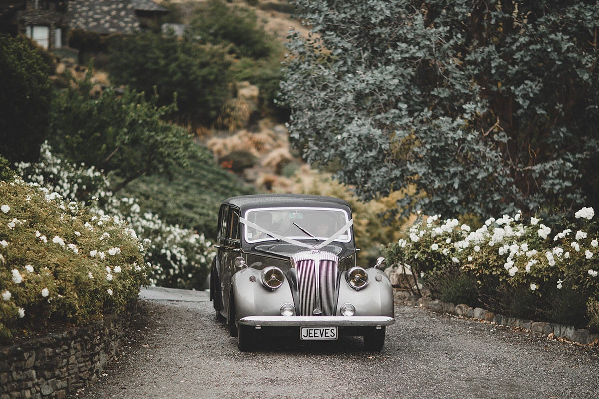 Real Weddings | Vinka Design | Real Brides Wearing Vinka Gowns | Megan and Tim - classic wedding car