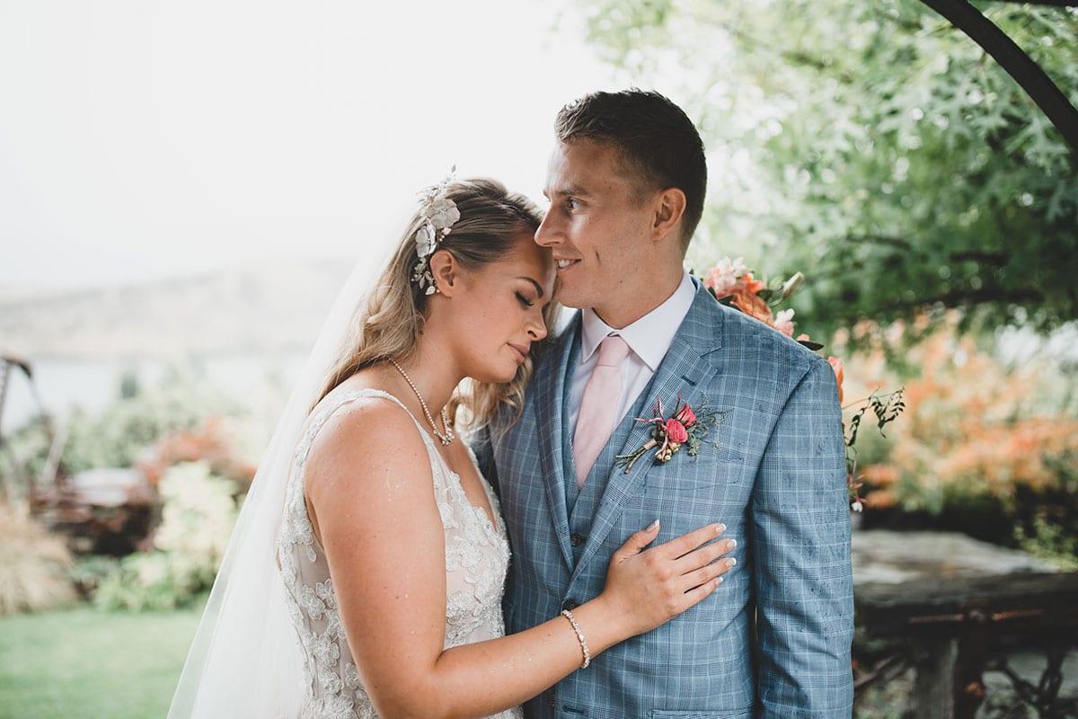 Real Weddings | Vinka Design | Real Brides Wearing Vinka Gowns | Megan and Tim close up cuddling