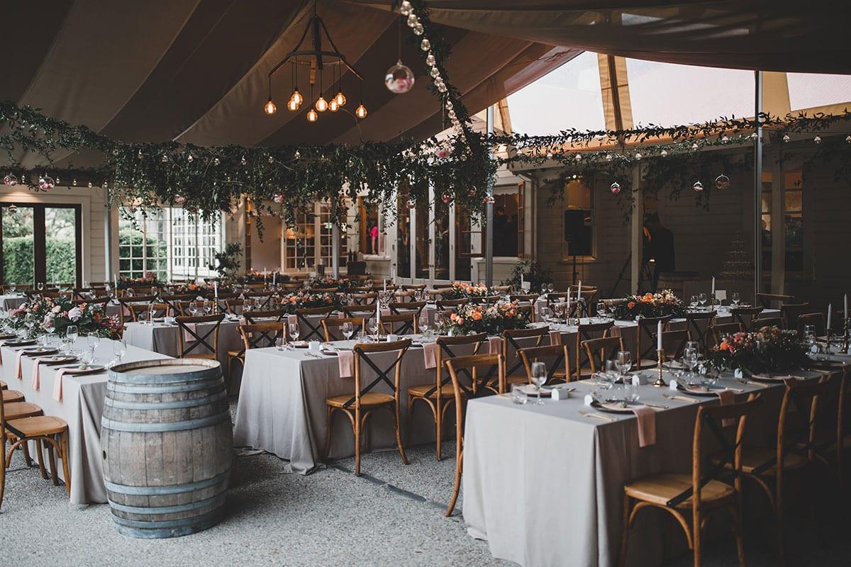 Real Weddings | Vinka Design | Real Brides Wearing Vinka Gowns | Megan and Tim wedding reception tables set