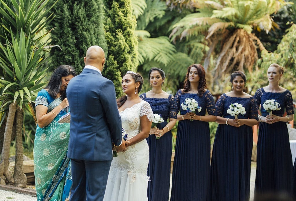 Real Weddings | Vinka Design | Real Brides Wearing Vinka Gowns | Shalini and Jayesh ceremony with bridesmaids behind in line