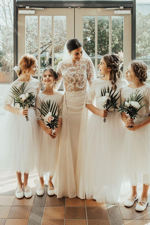 Real Weddings | Vinka Design | Real Brides Wearing Vinka Gowns | Olivia and Ben - Olivia with flower girls
