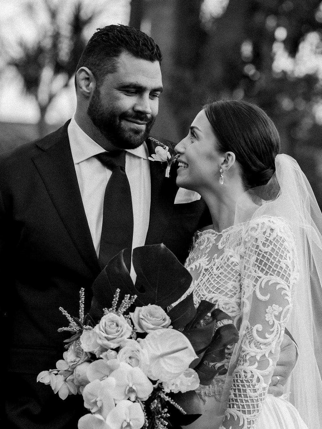 Real Weddings | Vinka Design | Real Brides Wearing Vinka Gowns | Olivia and Ben close up black and white portrait