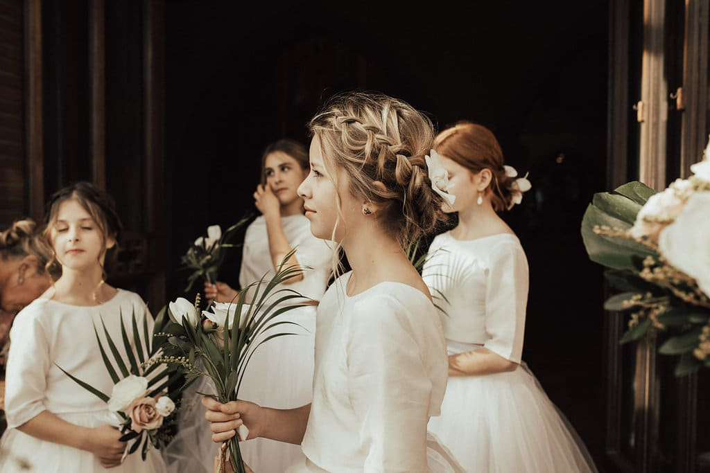 Real Weddings | Vinka Design | Real Brides Wearing Vinka Gowns | Olivia and Ben - flower girl with plaited hair