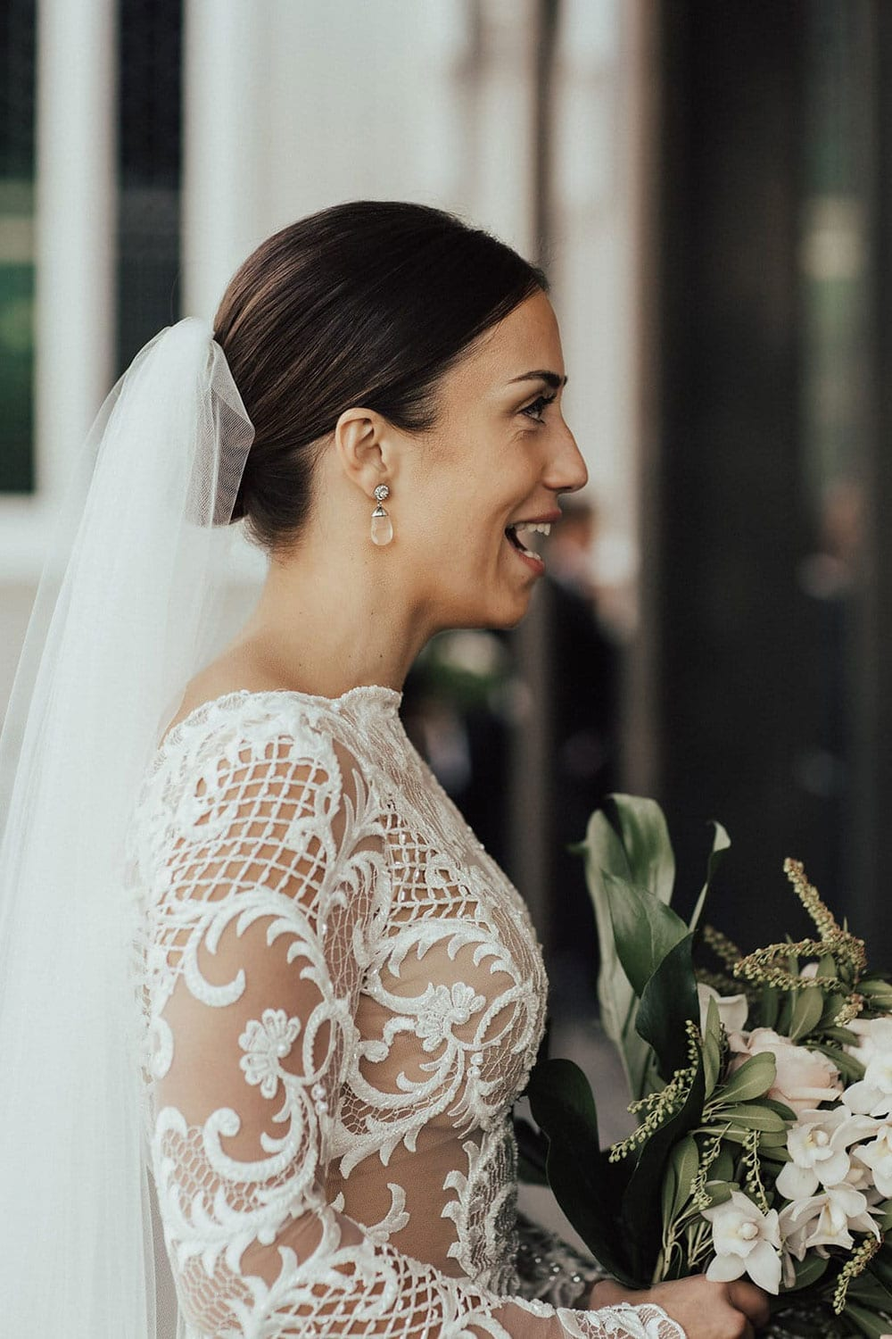 Real Weddings | Vinka Design | Real Brides Wearing Vinka Gowns | Olivia and Ben - Olivia close up of long sleeves with lace detail
