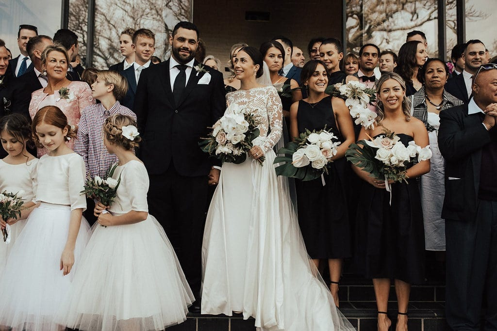 Real Weddings | Vinka Design | Real Brides Wearing Vinka Gowns | Olivia and Ben wedding guests in group photo