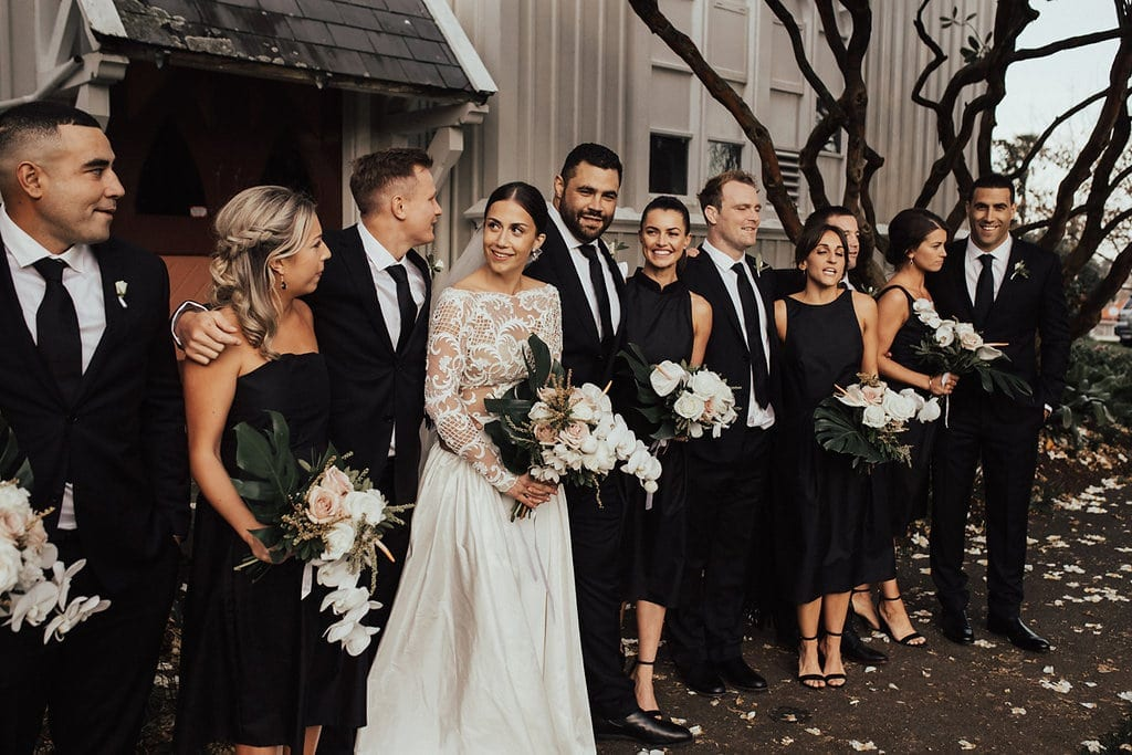 Real Weddings | Vinka Design | Real Brides Wearing Vinka Gowns | Olivia and Ben with bridesmaids and groomsmen